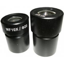 Coppia oculari 10x con reticolo 0,1 mm e croce centrale per microscopio steroscopico