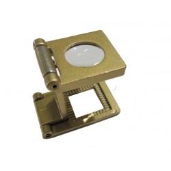Contafili classico 10x in metallo color oro e lente in vetro