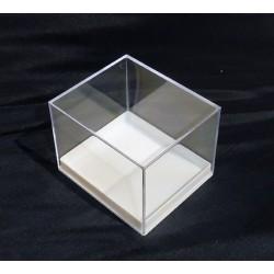 Scatoline trasparenti in plastica base bianca - 7,6x6,6 cm - altezza 5,6 cm