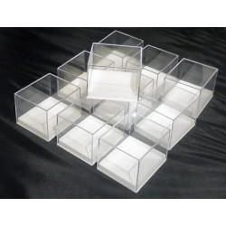 10 pezzi - Scatoline trasparenti in plastica base bianca - 7,6x6,6 cm - altezza 5,6 cm